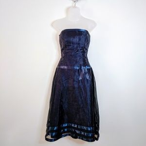 Dessy Collection Navy Blue Strapless Midi Dress